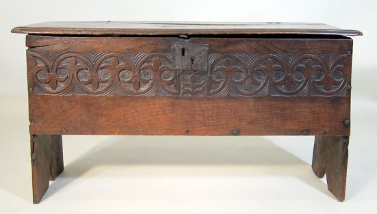 Boarded and Carved Coffer late 17th c